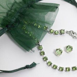 Jewelry - Austrian Crystal Emerald bracelet Earring Set